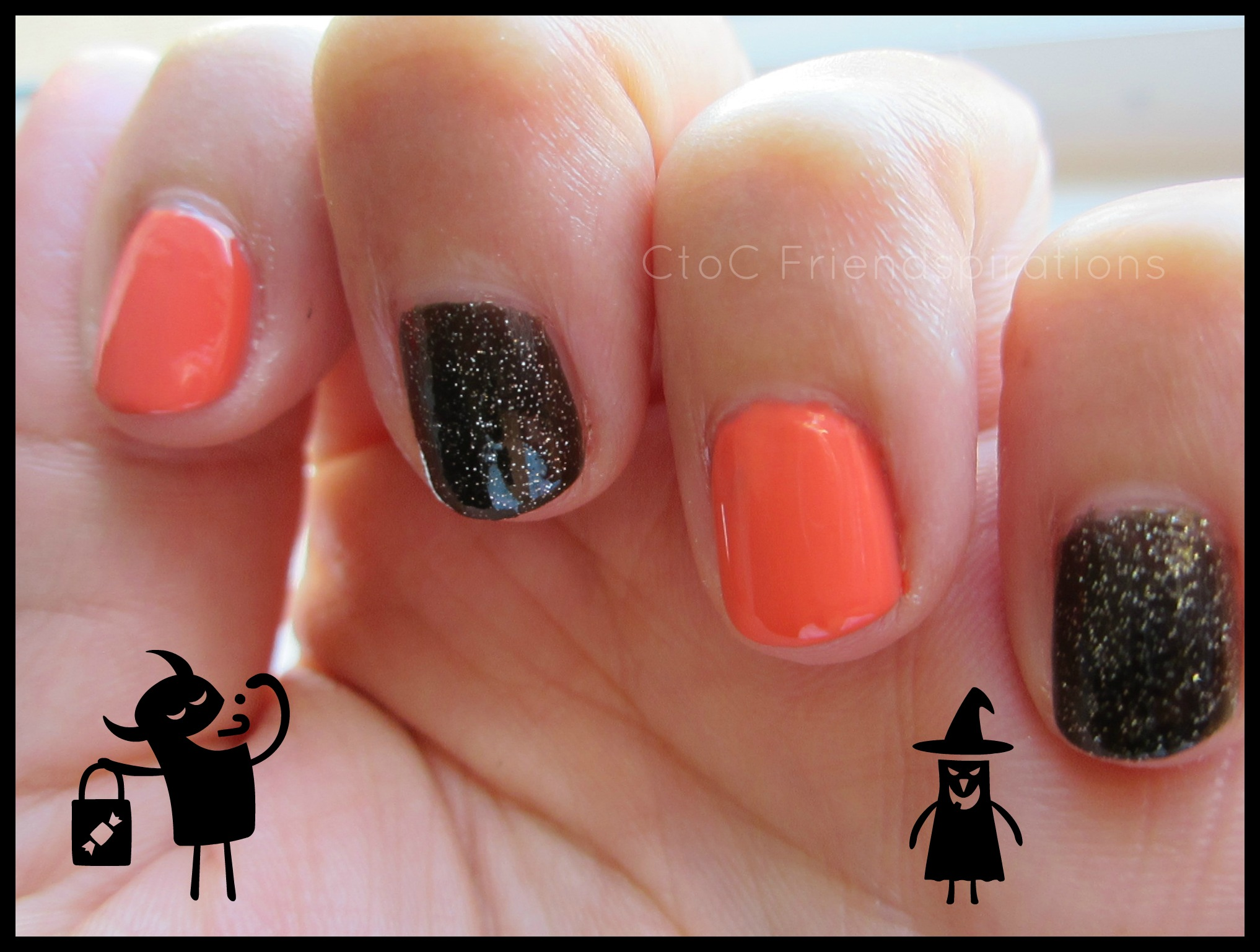 Tipsy Tuesday: Black and Orange Halloween Nails | C to C ...